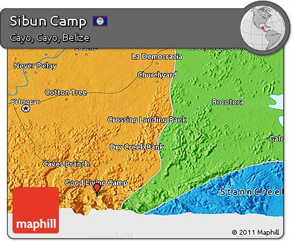Political 3D Map of Sibun Camp