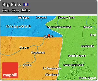 Political 3D Map of Big Falls