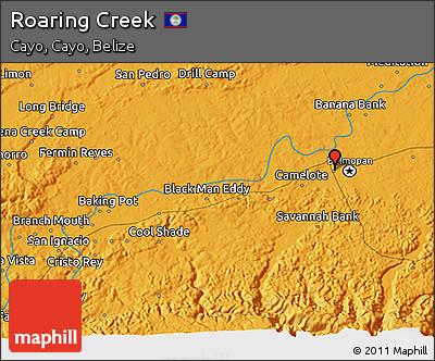 Political 3D Map of Roaring Creek