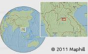 Savanna Style Location Map of Vientiane, hill shading