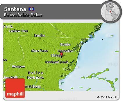 Physical Panoramic Map of Santana