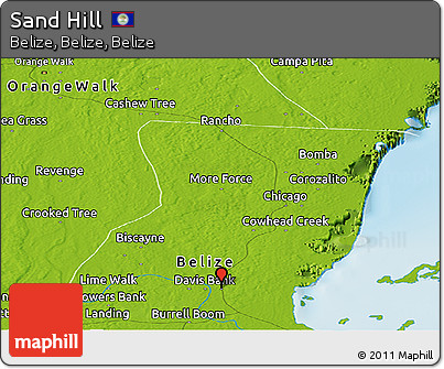 Physical Panoramic Map of Sand Hill