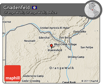 Shaded Relief 3D Map of Gnadenfeld