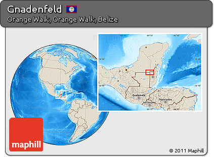 Shaded Relief Location Map of Gnadenfeld