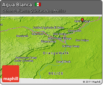 Physical Panoramic Map of Agua Blanca