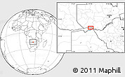 """Blank Location Map of the area around 17°30'31""""S,24°43'30""""E"""