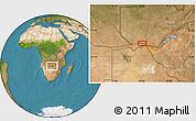 "Satellite Location Map of the area around 17°30'31""S,24°43'30""E"
