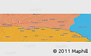 """Political Panoramic Map of the area around 17°30'31""""S,24°43'30""""E"""