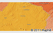 """Political 3D Map of the area around 17°30'31""""S,28°58'30""""E"""