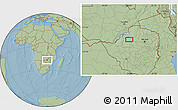 """Savanna Style Location Map of the area around 17°30'31""""S,28°58'30""""E, hill shading"""