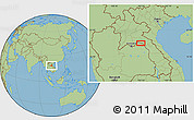 "Savanna Style Location Map of the area around 18°21'26""N,103°46'30""E"