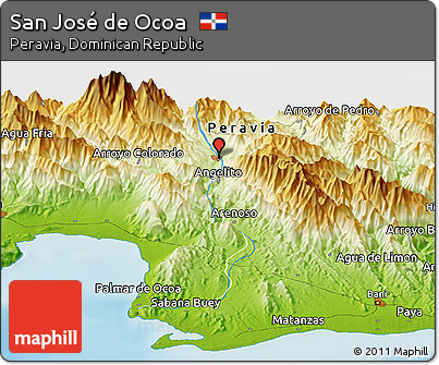 Physical Panoramic Map of San José De Ocoa