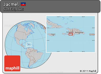 Free Gray Location Map of Jacmel