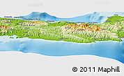 """Physical Panoramic Map of the area around 18°21'26""""N,73°1'30""""W"""
