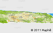 """Physical Panoramic Map of the area around 18°21'26""""N,77°16'30""""W"""