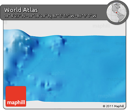 """Shaded Relief 3D Map of the Area around 18°21'26""""N,86°37'30""""W"""