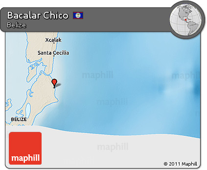 Shaded Relief 3D Map of Bacalar Chico