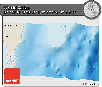 """Shaded Relief 3D Map of the Area around 18°21'26""""N,87°28'29""""W"""