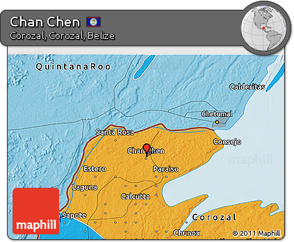 Political 3D Map of Chan Chen