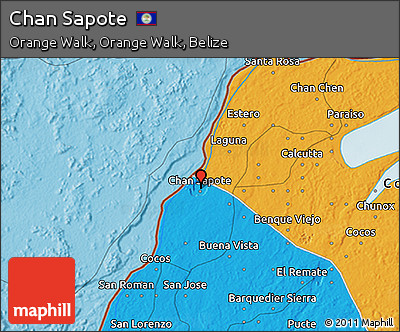 Political 3D Map of Chan Sapote