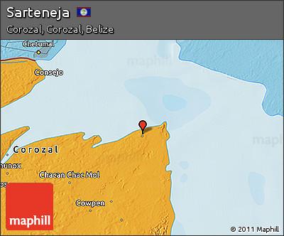 Political 3D Map of Sarteneja