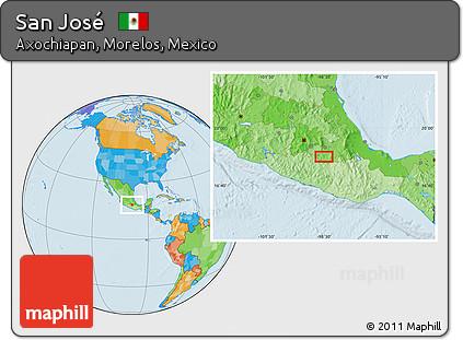 Free Political Location Map of San José
