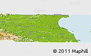 """Physical Panoramic Map of the area around 18°51'53""""N,105°28'29""""E"""