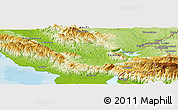 """Physical Panoramic Map of the area around 18°51'53""""N,72°10'30""""W"""