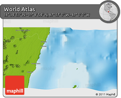 """Physical 3D Map of the Area around 18°51'53""""N,87°28'29""""W"""
