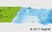 """Physical Panoramic Map of the area around 18°51'53""""N,87°28'29""""W"""