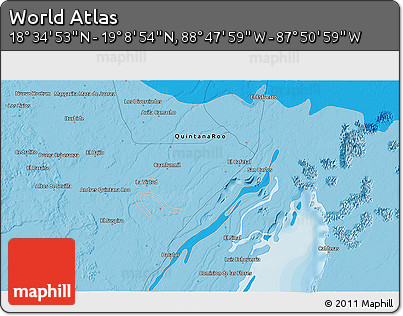 """Political 3D Map of the Area around 18°51'53""""N,88°19'29""""W"""