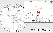 """Blank Location Map of the area around 18°51'53""""N,88°19'29""""W"""