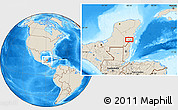"""Shaded Relief Location Map of the area around 18°51'53""""N,88°19'29""""W"""