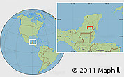 """Savanna Style Location Map of the area around 18°51'53""""N,89°10'30""""W"""