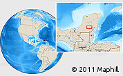 """Shaded Relief Location Map of the area around 18°51'53""""N,89°10'30""""W"""