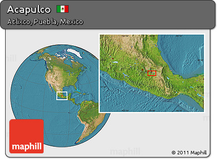 Free Satellite Location Map of Acapulco