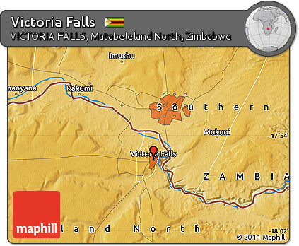 Free Physical Map of Victoria Falls