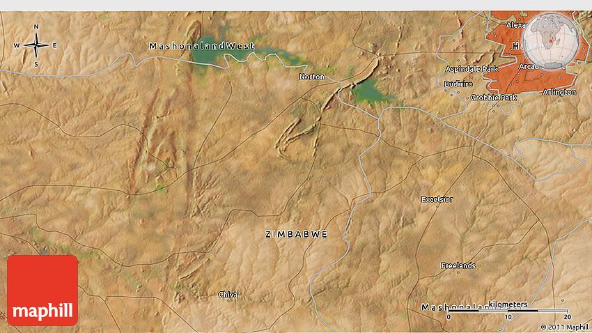 Satellite 3D Map of Beatrice