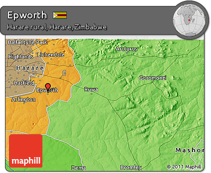 Free Political 3D Map of Epworth