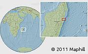 Savanna Style Location Map of Toamasina, hill shading