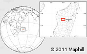 """Blank Location Map of the area around 18°31'34""""S,45°58'30""""E"""