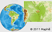 """Physical Location Map of the area around 18°31'34""""S,58°34'30""""W"""