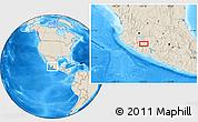Shaded Relief Location Map of Los Reyes de Salgado