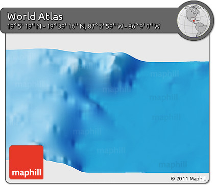 """Shaded Relief 3D Map of the Area around 19°22'18""""N,86°37'30""""W"""