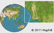 """Satellite Location Map of the area around 19°22'18""""N,97°49'29""""E"""