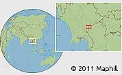 "Savanna Style Location Map of the area around 19°22'18""N,97°49'29""E"