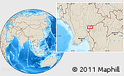 """Shaded Relief Location Map of the area around 19°22'18""""N,97°49'29""""E"""