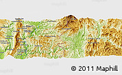 """Physical Panoramic Map of the area around 19°22'18""""N,97°49'29""""E"""
