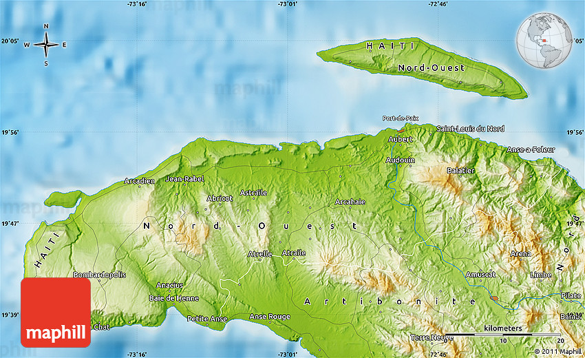 Physical Map Of SaintLouis Du Nord - Physical map of haiti