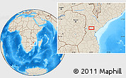 """Shaded Relief Location Map of the area around 19°2'1""""S,34°4'30""""E"""